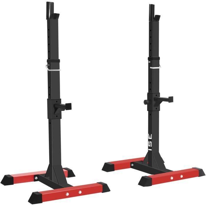 BANC DE MUSCULATION ISE Cage de Squat Supports de Squat Reacuteglable Squat Rack avec Barres de Support Charge Max200 KGSYRK10360