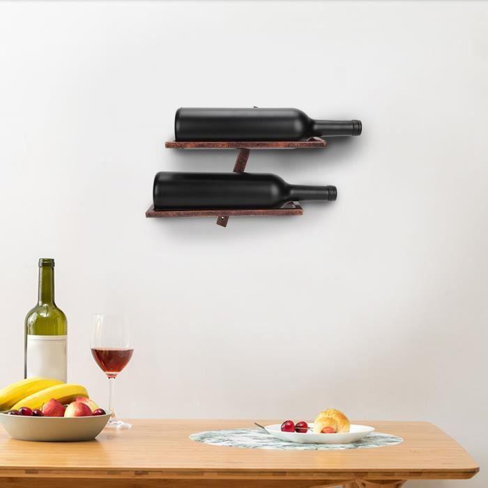 Porte-bouteilles Étagère murale rustique de support de bouteille de vin de casier à vin pour l'armoire de salle à manger HB042