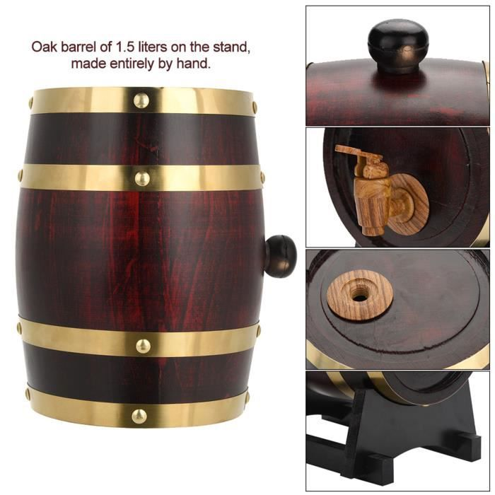Ashata chêne en bois Vintage Tonneau à vin en bois de chêne vintage pour bière Whisky Rum Port 1.5L