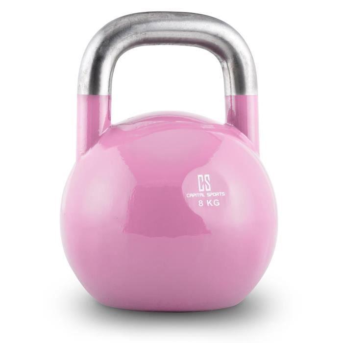 Capital Sports Compket 8 Kettlebell haltère poids acier 8kg - rose