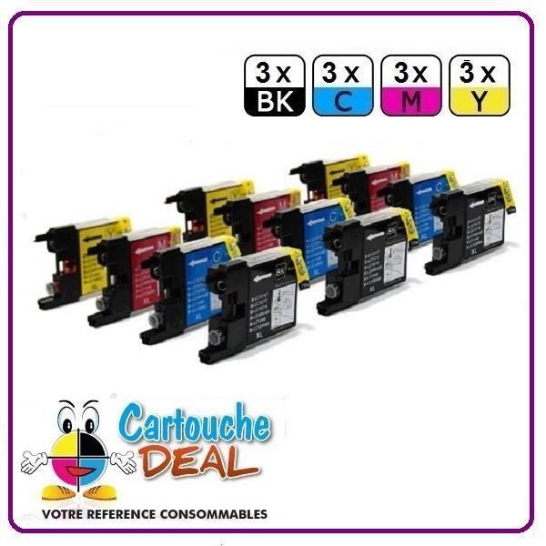 Lot 12 Cartouches générique compatible BROTHER LC 1240 LC 1280