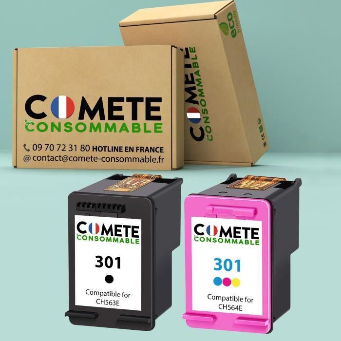 Pack de 2 Cartouches - 301 - NOIR COULEURS Encre Compatible Premium pour HP Officejet Envy Deskjet - Comète France