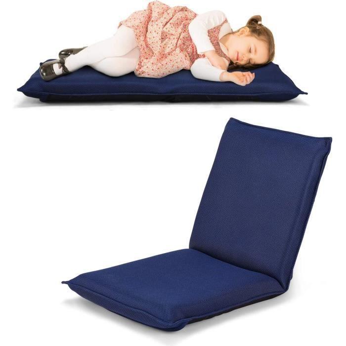 COSTWAY Chaise de Sol Pliable, Tatami Inclinable en 6 Position, Idéal pour Chambre, Salon, Bureau, 44 x 54,5 x 53,5 cm (L x l x H)