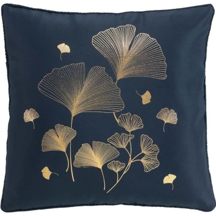 Coussin passepoil 40x40 Bloomy Marine/Or 40 X 40 Bleu