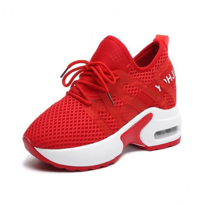 Femme Baskets Compensées Wedge Heel Chaussures de Sport Running  Mode Entraînement Respirant Chaussures Cuir Lacets Rouge
