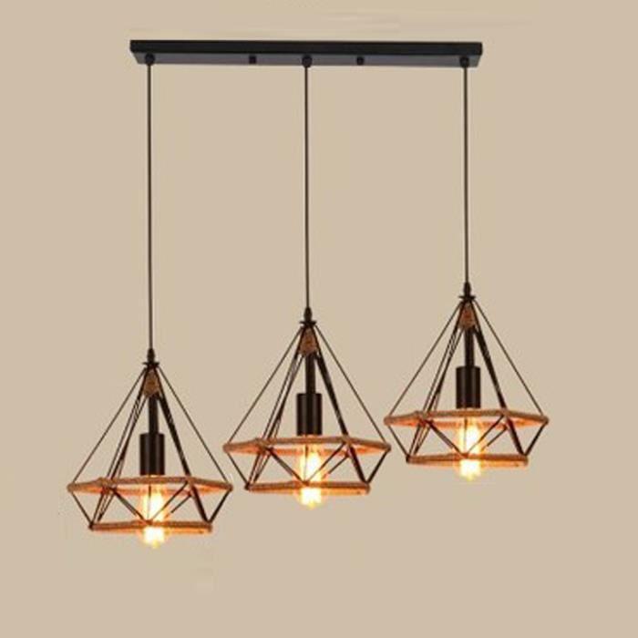 Lustre Suspension Industrielle forme Diamant Corde de Chanvre Barre Ajustable Luminaire pour Salle à Manger,Bar,Chambre