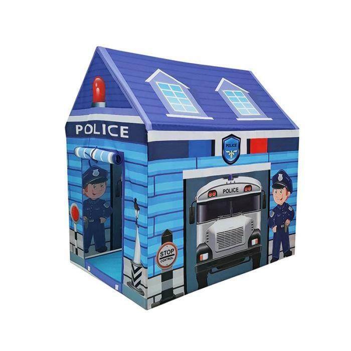 Tentes de Jeu pour Enfants Tente ExtéRieure IntéRieure Portable Tipi Pliable Pompier Policiers Semblant Jouer Gamehouse (Bleu)