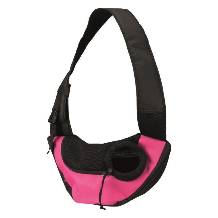 TRIXIE Sac frontal Sling - 50 × 25 × 18 cm - Rose et noir - Pour chien