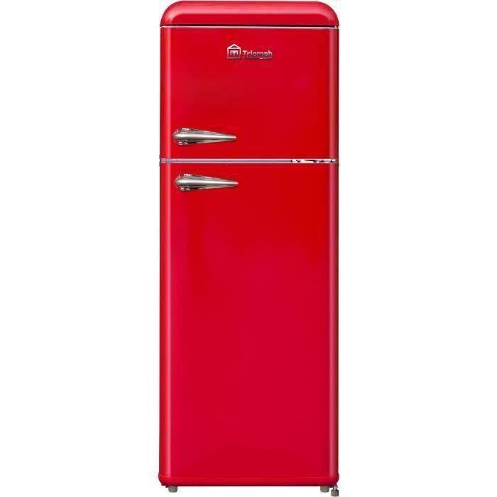 TRIOMPH TLDP208R - Réfrigérateur Vintage congélateur haut - 208L (157 + 51) - Froid statique - L 55 x H 147 cm - Rouge
