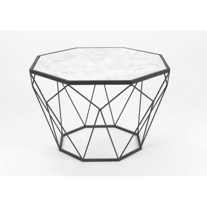 table basse forme diamant en metal noir plateau ma