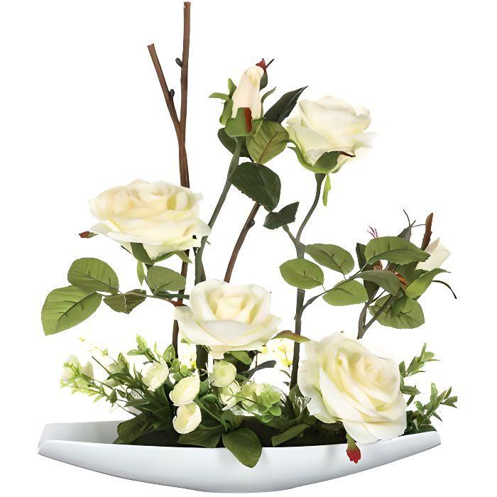36,5 cm Composition de fleurs artificielles Roses H Coupelle c/éramique