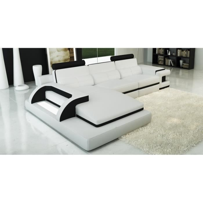 canap d 39 angle cuir blanc et noir design lumi achat vente canap sofa divan cdiscount. Black Bedroom Furniture Sets. Home Design Ideas