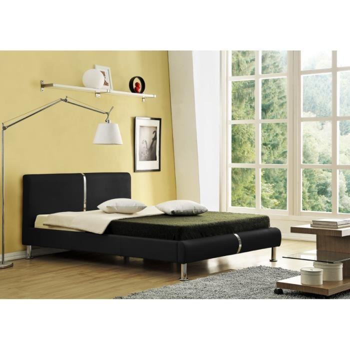 lit 140x190 pu noir strip achat vente structure de lit. Black Bedroom Furniture Sets. Home Design Ideas
