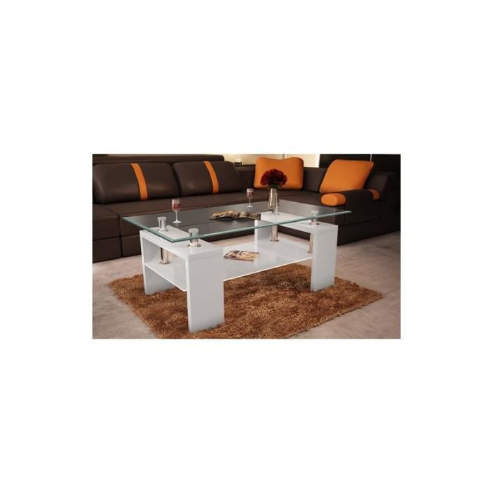 table basse rectangulaire blanche achat vente table. Black Bedroom Furniture Sets. Home Design Ideas