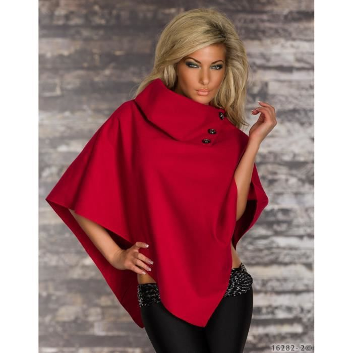 veste poncho cape femme glamour rouge rouge achat vente imperm able trench veste poncho. Black Bedroom Furniture Sets. Home Design Ideas