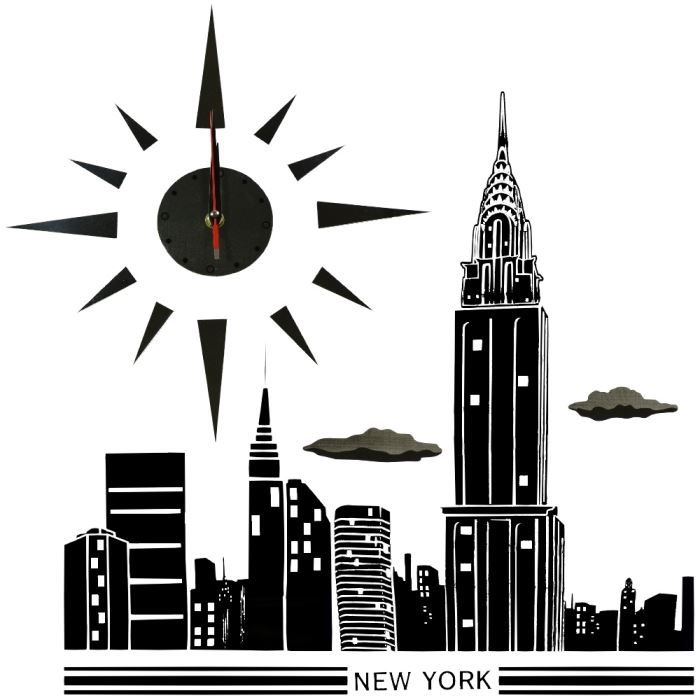 Stickers stickers horloge pendule murale city new york c for Horloge murale new york