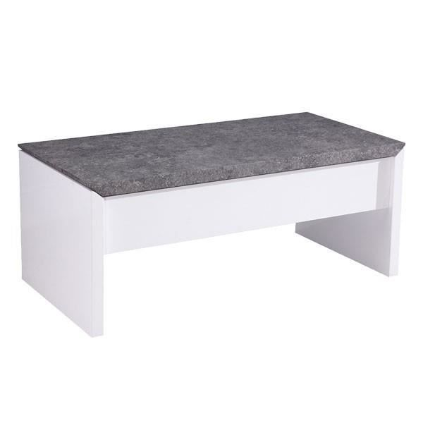 table basse relevable laqu blanc et gris b ton open stone achat vente table basse open. Black Bedroom Furniture Sets. Home Design Ideas
