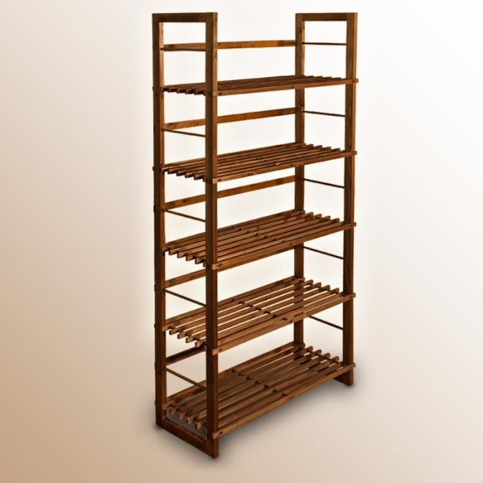 Etagère bois hauteur 135cm rangement bibliothèque - Achat / Vente etagère murale Etagère bois ...