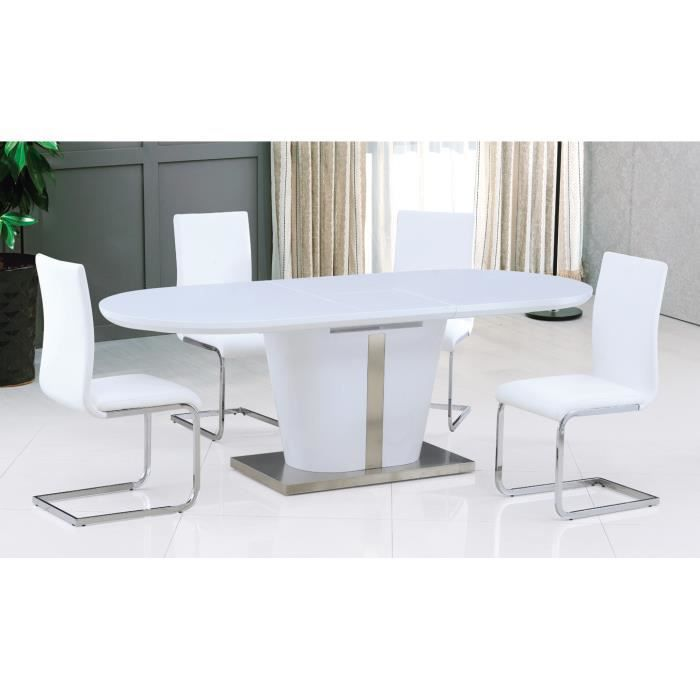 table salle manger ultra design blanc laqu avec. Black Bedroom Furniture Sets. Home Design Ideas