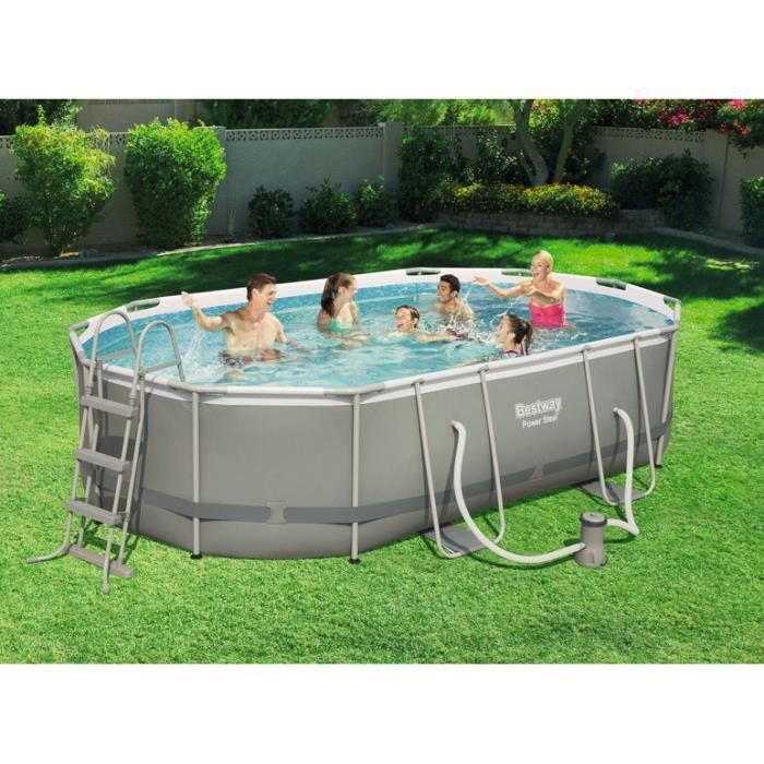 Piscine tubulaire ovale frame pools best way power steel for Piscine tubulaire bestway