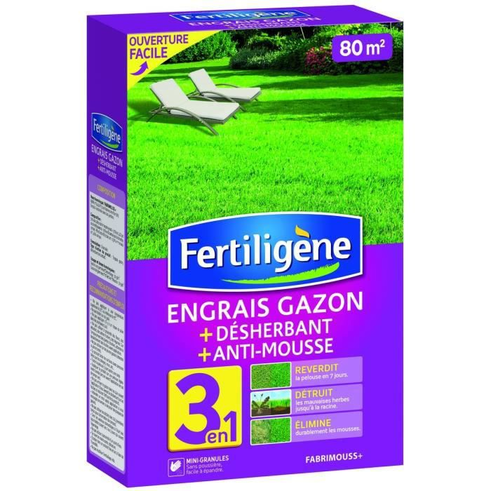 Engrais gazon desherbant et anti mousse sac pour 80 m for Bayer jardin anti mousse