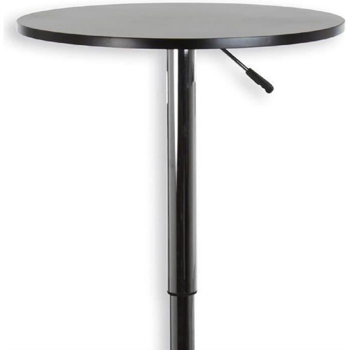 Table haute de bar vista mdf laqu noir mat achat for Achat table bar