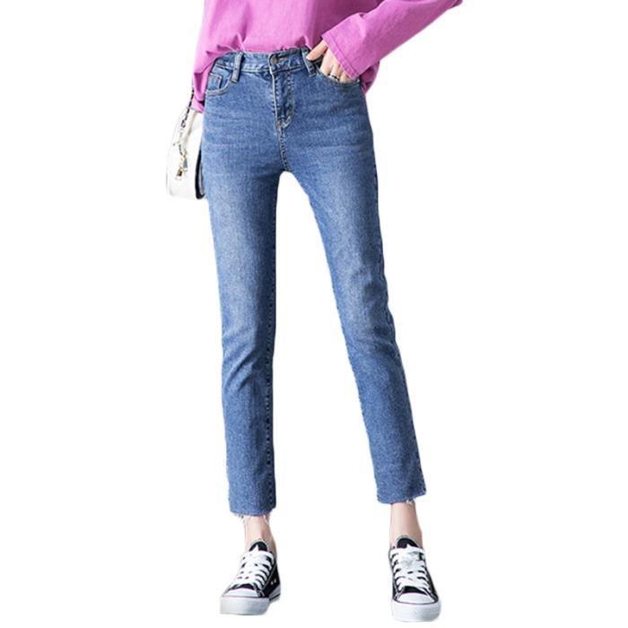 Jean 7 8 Femme Coupe Droite Taille Haute Effect Delave Couleur Unie