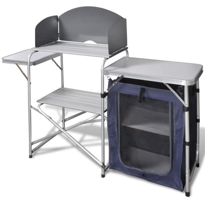Camping Cuisine Support Aluminium de stockage portable Cuisson pare-brise Extérieur Nouveau