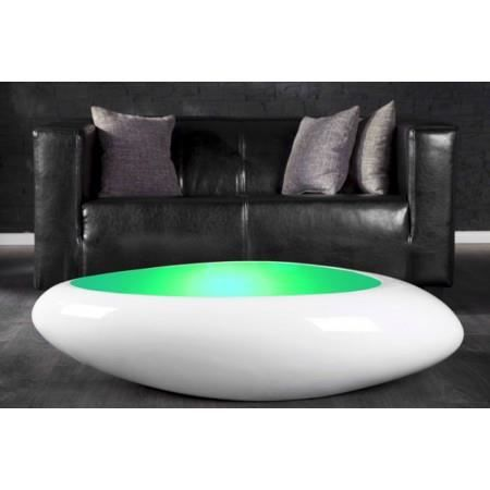 Table basse design blanc laqu galet ii lumineu achat for Achat galet blanc