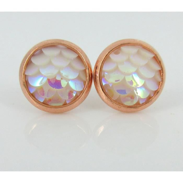 Womens Rose Gold-tone Light Pink White Ab Mermaid Scale Stud Earrings 8mm Dragon ITX38