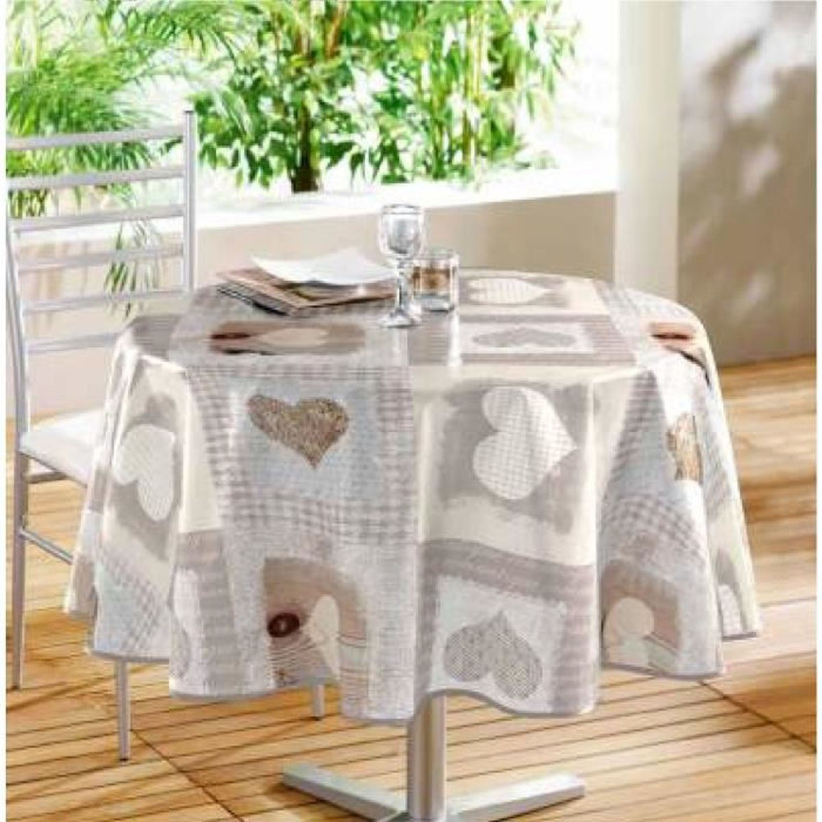 nappe ronde 160 cm cosy coeur achat vente nappe de table cdiscount. Black Bedroom Furniture Sets. Home Design Ideas