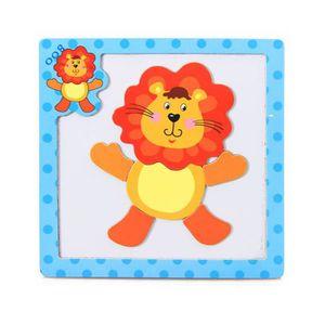 PUZZLE Puzzle 3D en bois magnétique pour animaux  Lion #