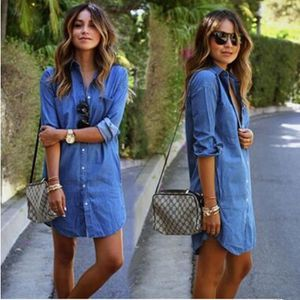 Femmes New Style vestimentaire European Fashion Solid Color Turn Down  Collar Femmes Jeans Robe à manches f0ccde8e4ab