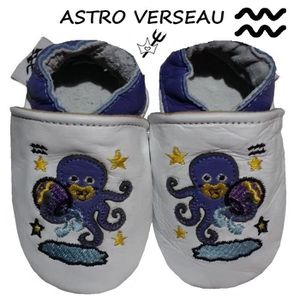 CHAUSSON - PANTOUFLE CHAUSSONS CUIR ASTRO BEBE 0-6 MOIS