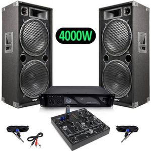 PACK SONO Pack Sono Enceintes 4000W + Mini table de mixage 4
