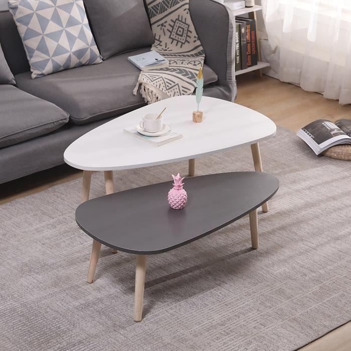 YONGSHIA® Lot de 2 tables basses gigognes laquées PM gris GM blanc scandinave