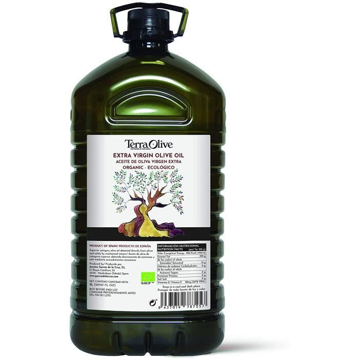 TerraOlive - Huile d'Olive Extra Vierge Biologique de Haute Qualité - 5 litres