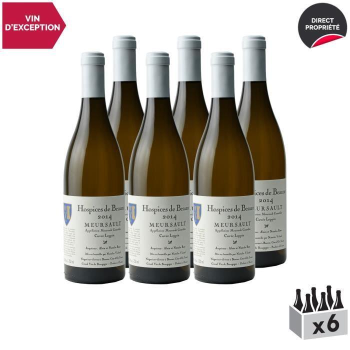 Meursault Cuvée Loppin Blanc 2014 - Lot de 6x75cl - Hospices de Beaune - Vin AOC Blanc de Bourgogne - Cépage Chardonnay