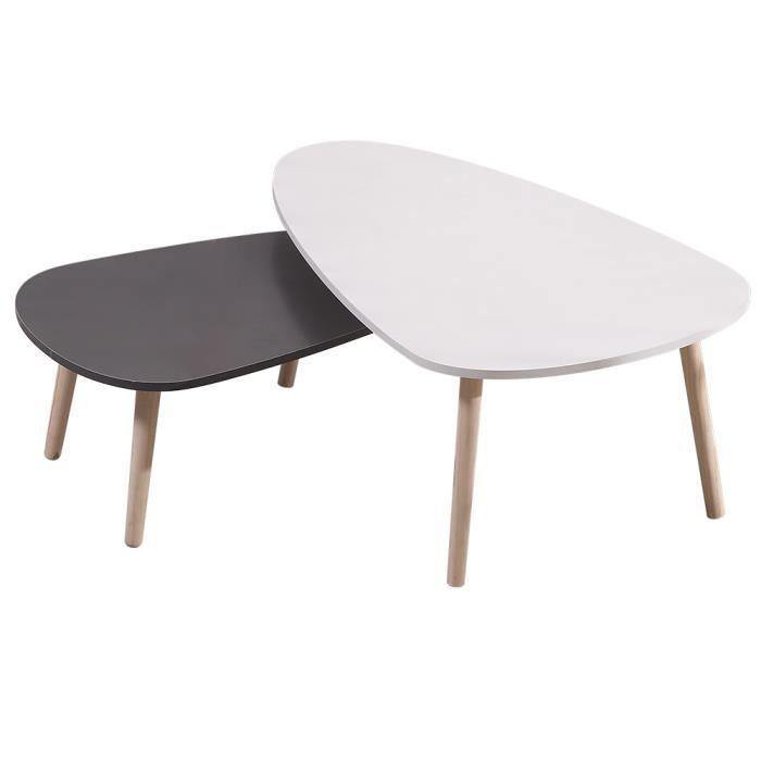 Lot de 2 Tables Basses gigognes ovale scandinave - Blanc + Gris laqué mat