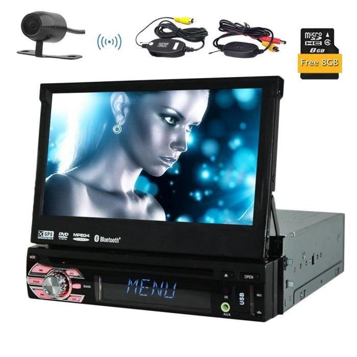Caméra sans fil inclus! Eincar simple DIN GPS voiture DVD Lecteur CD Autoradio Support SD / USB / AUX / iPod Bluetooth Connexion 7