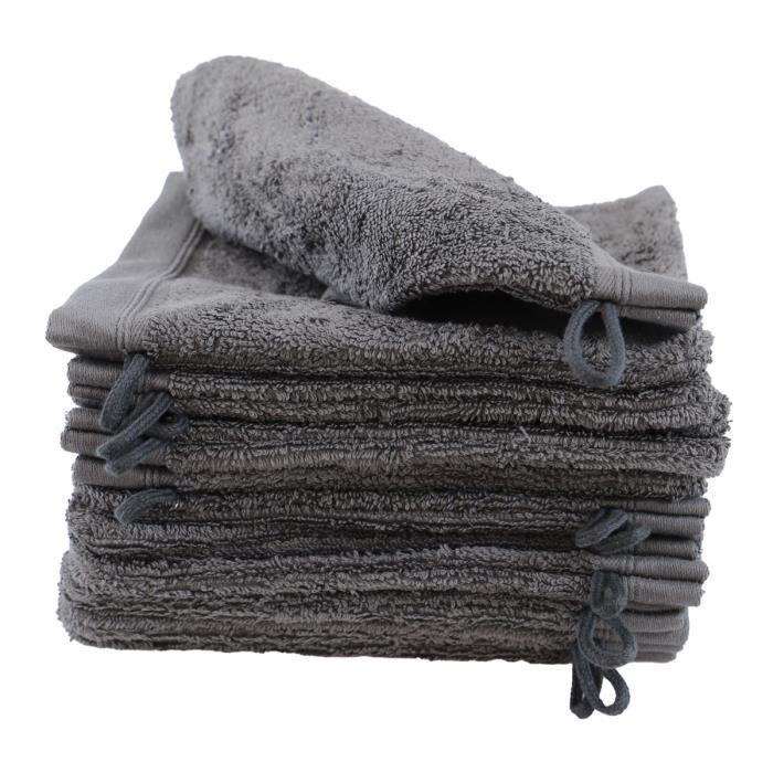 LINANDELLE - Lot de 12 gants de toilette coton bouclette unis FLEUR - Gris foncé