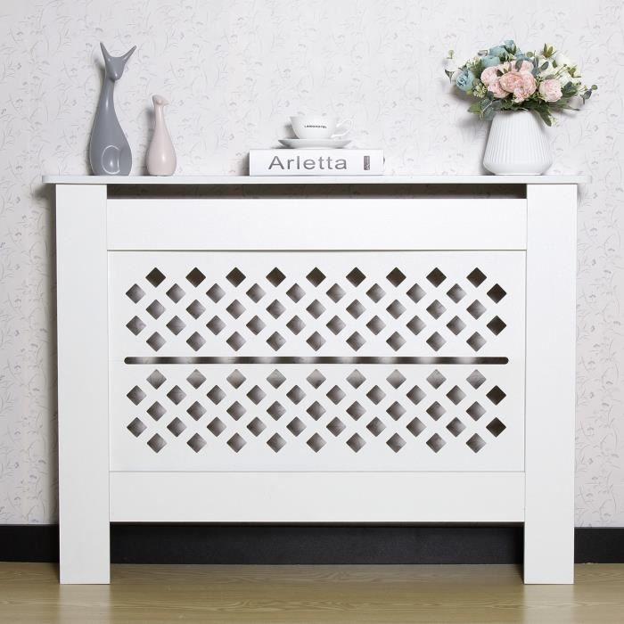 Cache Radiateur - Maison Décoration - Moderne, Blanc, 112 x 19 x 81.5cm - MONDEER