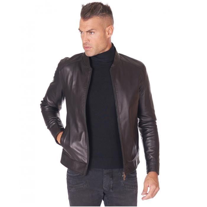 Blouson cuir noir veste moto cuir d'agneau plongé