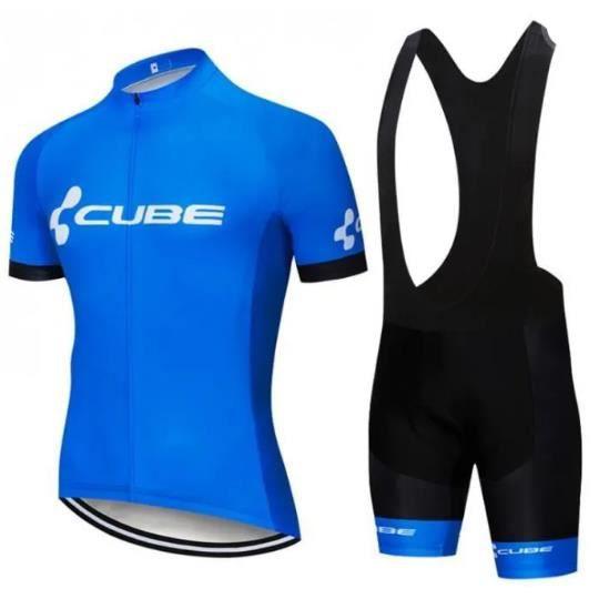 2021 Été Cube Maillot de Cyclisme Homme Manches Courtes + Cuissard à Vélo GEL Silicone Épais Ensemble de Vetement Tenue de VTT Pro