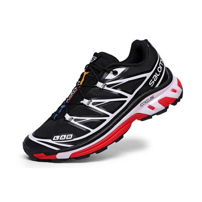 Salomon running sport chaussures de course pour hommes loisirs de plein air rétro Noir rouge blanc