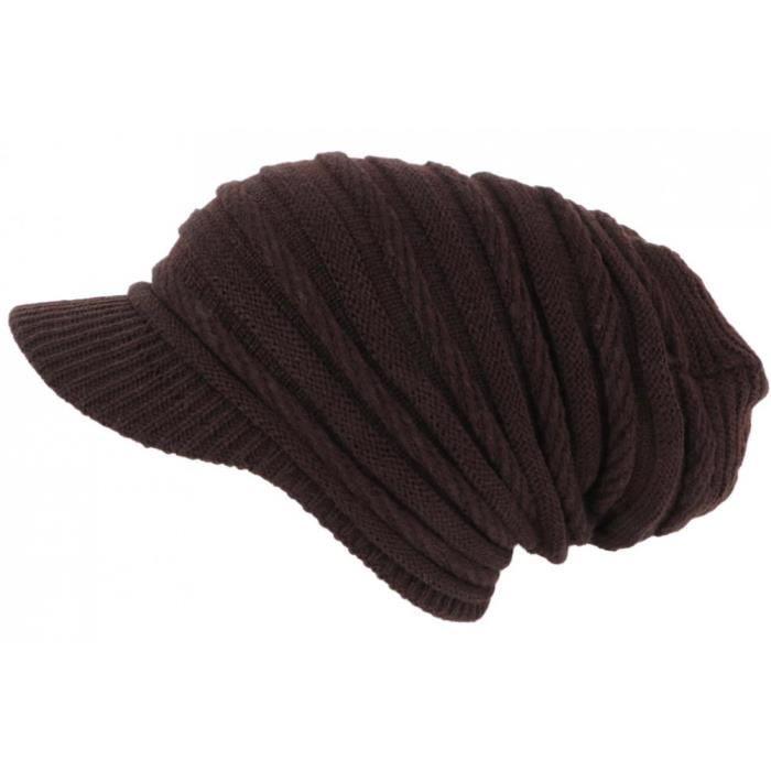 Bonnet Casquette Rasta Marron Chocolat en Laine douce fashion Kift - Taille unique - Marron