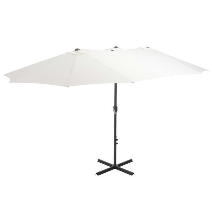 Magnifique Economique Parasol d'extérieur et poteau en aluminium 460 x 270 cm Sabe