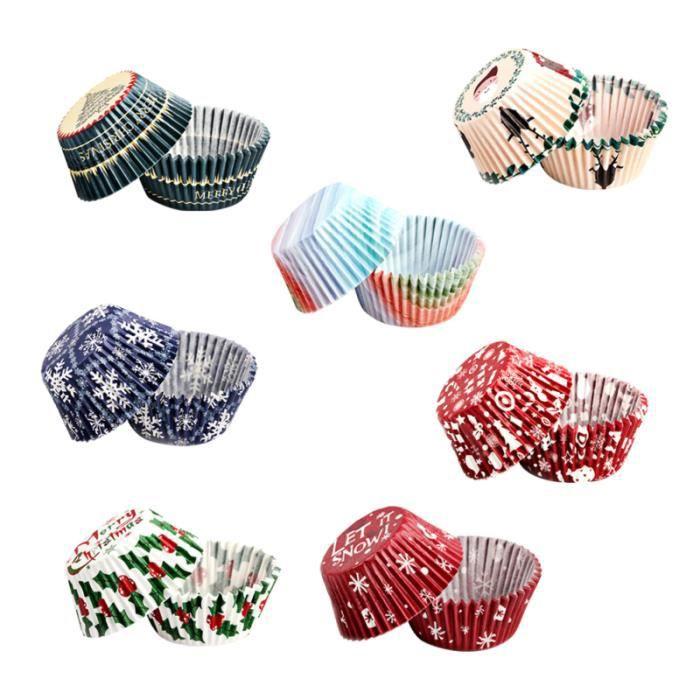 250pcs gateau de papier de noël tasse à l'épreuve de l'huile Cupcake Liner Wrappers Party Supplies (motif GATEAU PATISSIER