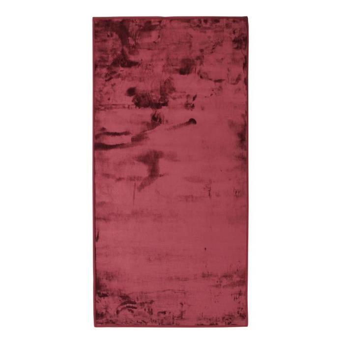 FLANELLE - Tapis extra-doux effet velours rouge foncé 60x120