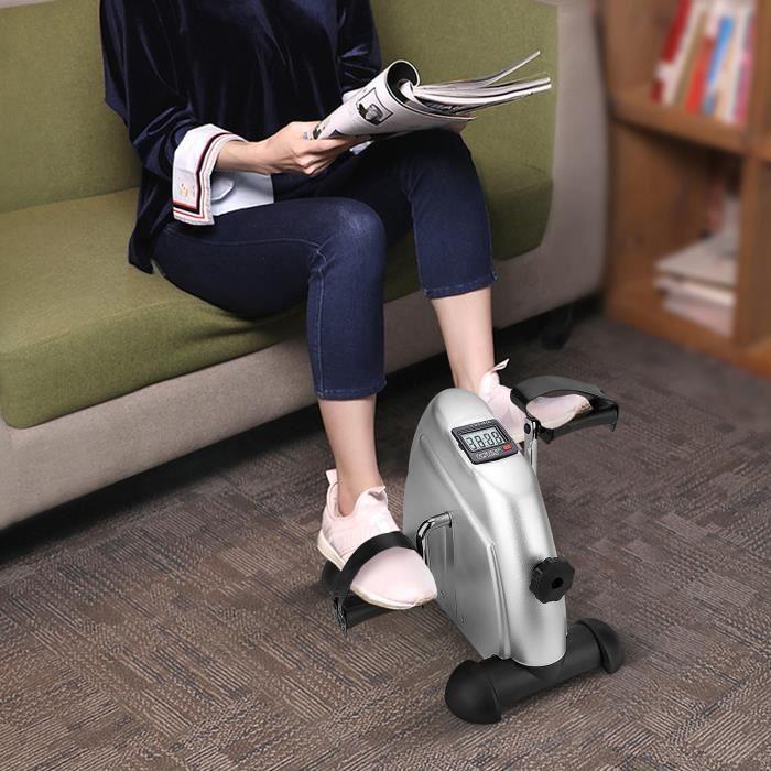 VGEBY® Gris Mini Vélo d'Appartement, Mini Vélo d'exercice Cardio à Pédale Écran LCD -SIE